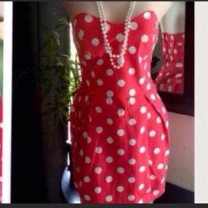 Red polka dot retro pinup ModCloth strapless dress